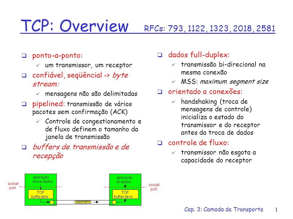 Cap. 3: Camada de Transporte1 TCP: Overview RFCs: 793, 1122, 1323, 2018, 2581 dados full-duplex: transmissão bi-direcional na mesma conexão MSS: maxim