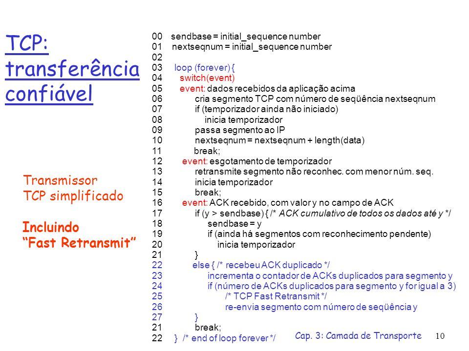 Cap. 3: Camada de Transporte10 TCP: transferência confiável 00 sendbase = initial_sequence number 01 nextseqnum = initial_sequence number 02 03 loop (