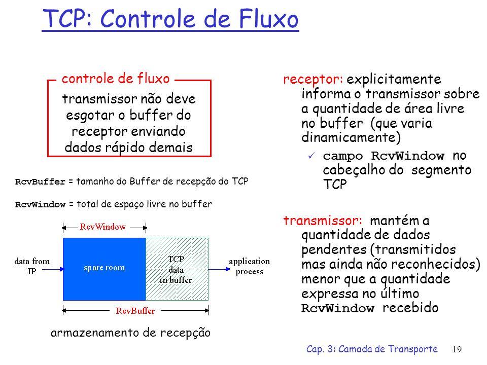 Cap. 3: Camada de Transporte19 TCP: Controle de Fluxo receptor: explicitamente informa o transmissor sobre a quantidade de área livre no buffer (que v