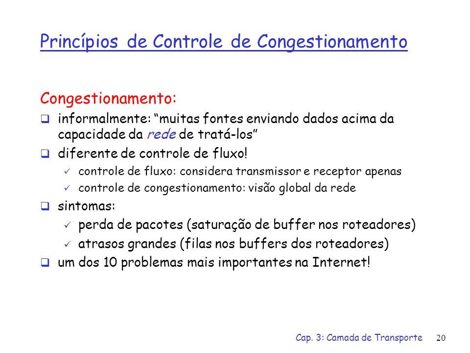 Cap. 3: Camada de Transporte20 Princípios de Controle de Congestionamento Congestionamento: informalmente: muitas fontes enviando dados acima da capac