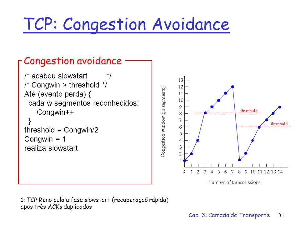 Cap. 3: Camada de Transporte31 TCP: Congestion Avoidance /* acabou slowstart */ /* Congwin > threshold */ Até (evento perda) { cada w segmentos reconh