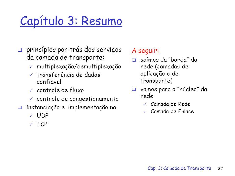 Cap. 3: Camada de Transporte37 Capítulo 3: Resumo princípios por trás dos serviços da camada de transporte: multiplexação/demultiplexação transferênci