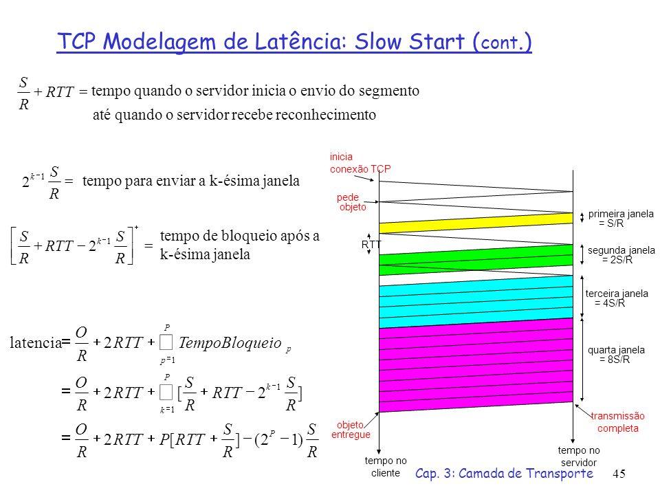 Cap. 3: Camada de Transporte45 R S R S RTTP R O R S R S R O TempoBloqueioRTT R O P k P k P p p )12(][2 ]2[2 2latencia 1 1 1 tempo de bloqueio após a k