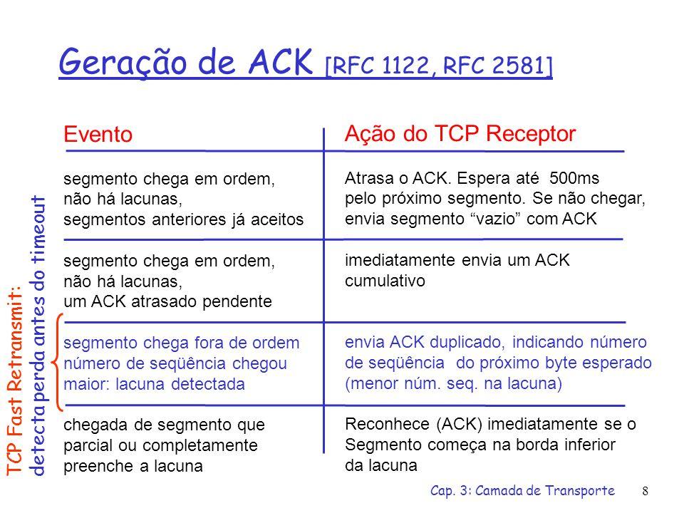 Cap. 3: Camada de Transporte8 Geração de ACK [RFC 1122, RFC 2581] Evento segmento chega em ordem, não há lacunas, segmentos anteriores já aceitos segm