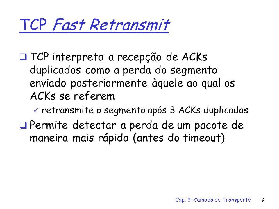Cap. 3: Camada de Transporte9 TCP Fast Retransmit TCP interpreta a recepção de ACKs duplicados como a perda do segmento enviado posteriormente àquele