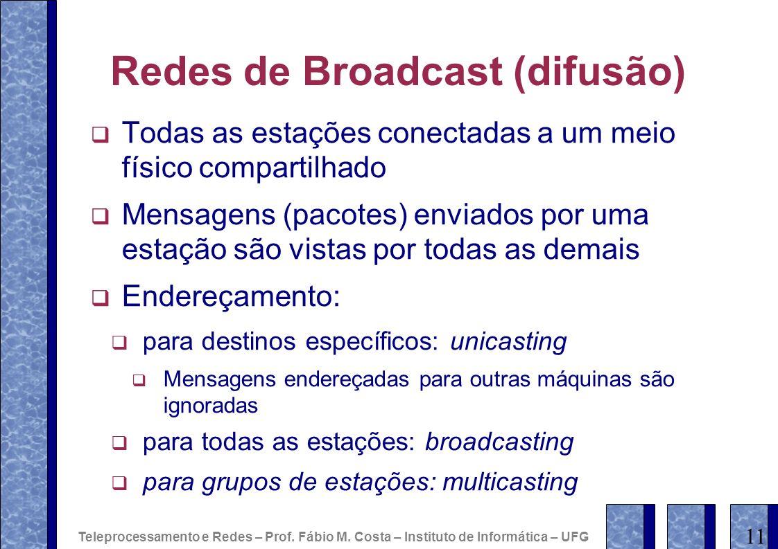 Redes de Broadcast (difusão) Todas as estações conectadas a um meio físico compartilhado Mensagens (pacotes) enviados por uma estação são vistas por t
