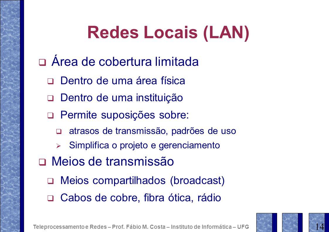 Redes Locais (LAN) Área de cobertura limitada Dentro de uma área física Dentro de uma instituição Permite suposições sobre: atrasos de transmissão, pa