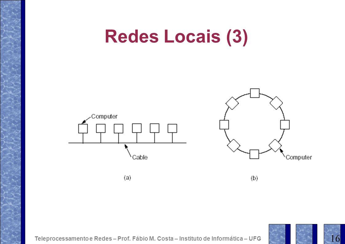 Redes Locais (3) 16 Teleprocessamento e Redes – Prof. Fábio M. Costa – Instituto de Informática – UFG