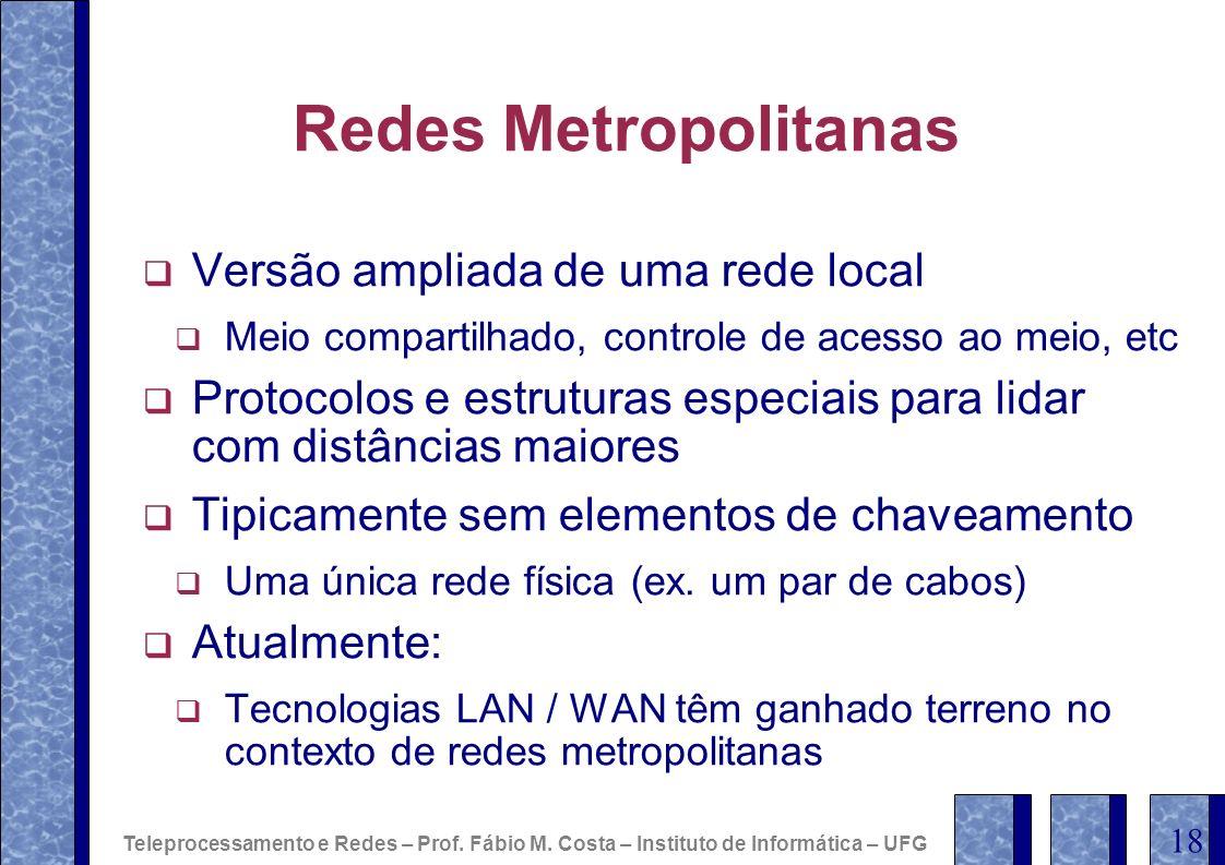 Redes Metropolitanas Versão ampliada de uma rede local Meio compartilhado, controle de acesso ao meio, etc Protocolos e estruturas especiais para lida