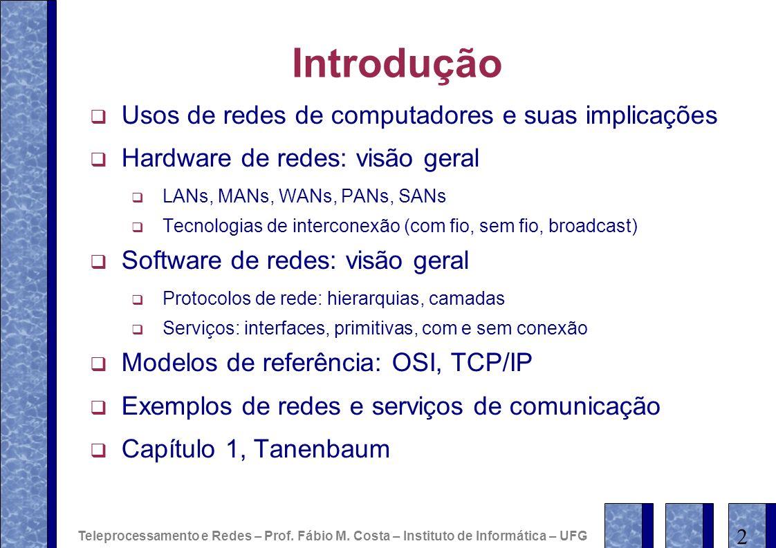 Introdução Usos de redes de computadores e suas implicações Hardware de redes: visão geral LANs, MANs, WANs, PANs, SANs Tecnologias de interconexão (c