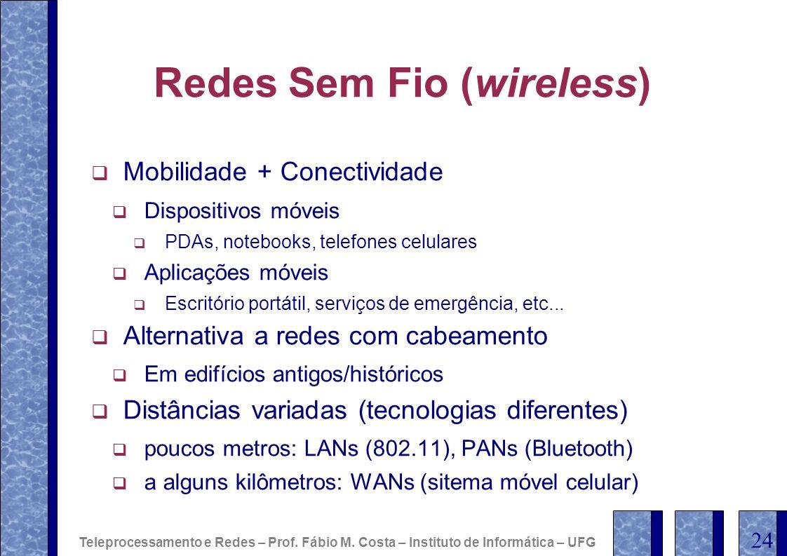 Redes Sem Fio (wireless) Mobilidade + Conectividade Dispositivos móveis PDAs, notebooks, telefones celulares Aplicações móveis Escritório portátil, se