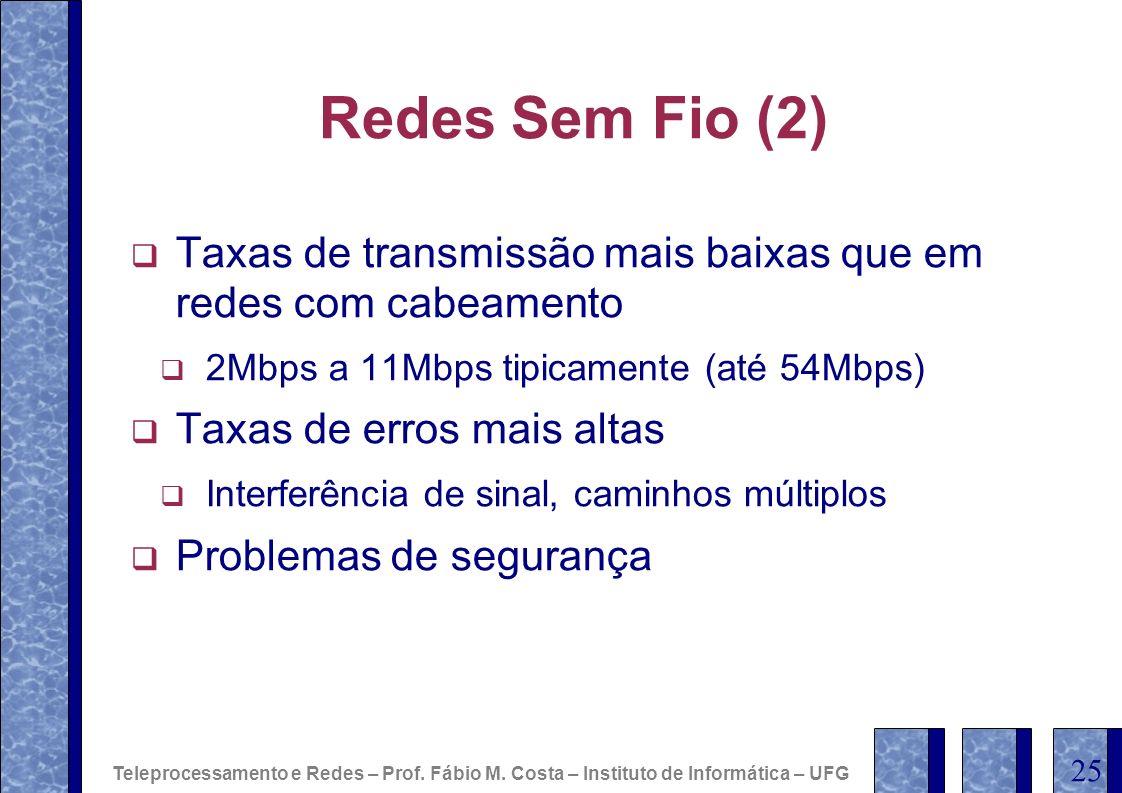 Redes Sem Fio (2) Taxas de transmissão mais baixas que em redes com cabeamento 2Mbps a 11Mbps tipicamente (até 54Mbps) Taxas de erros mais altas Inter