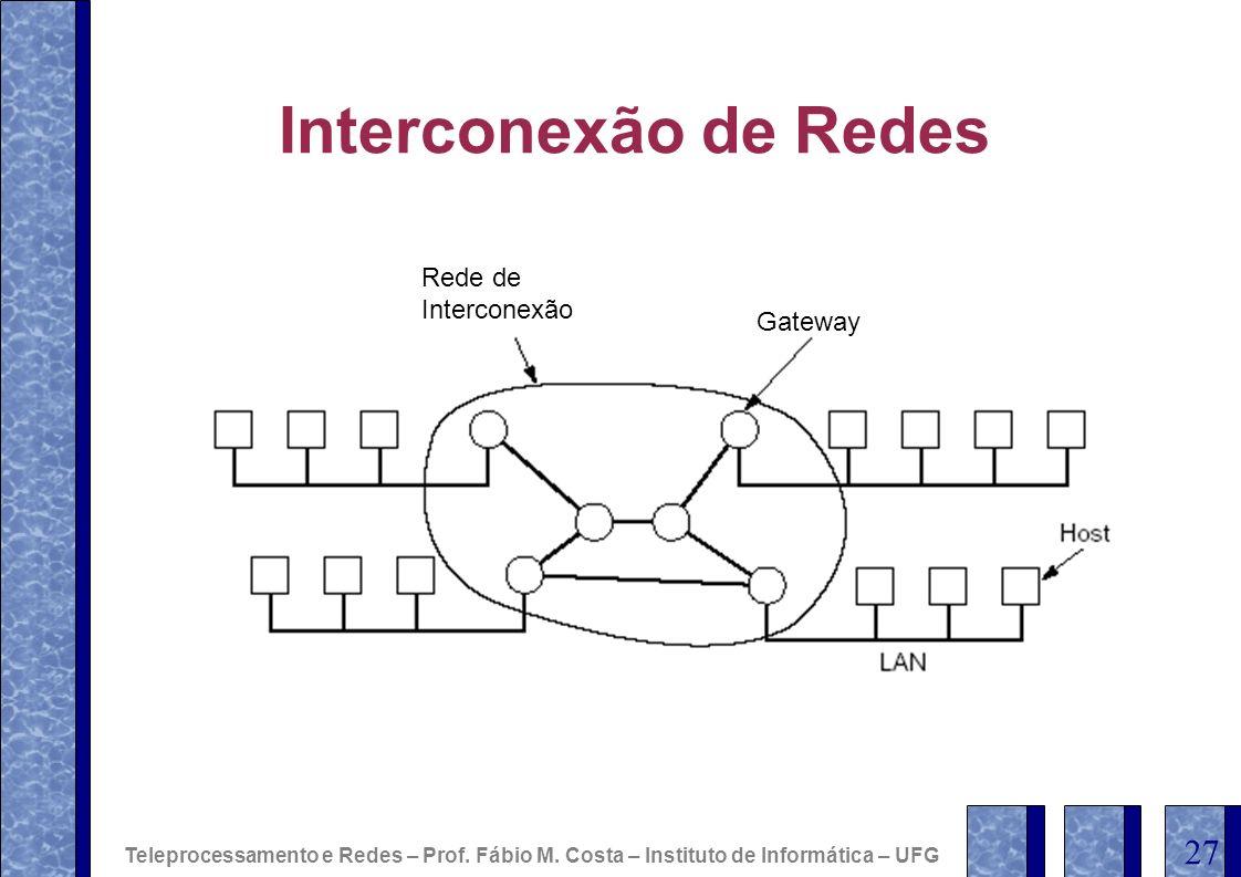 Interconexão de Redes Gateway Rede de Interconexão Teleprocessamento e Redes – Prof. Fábio M. Costa – Instituto de Informática – UFG 27