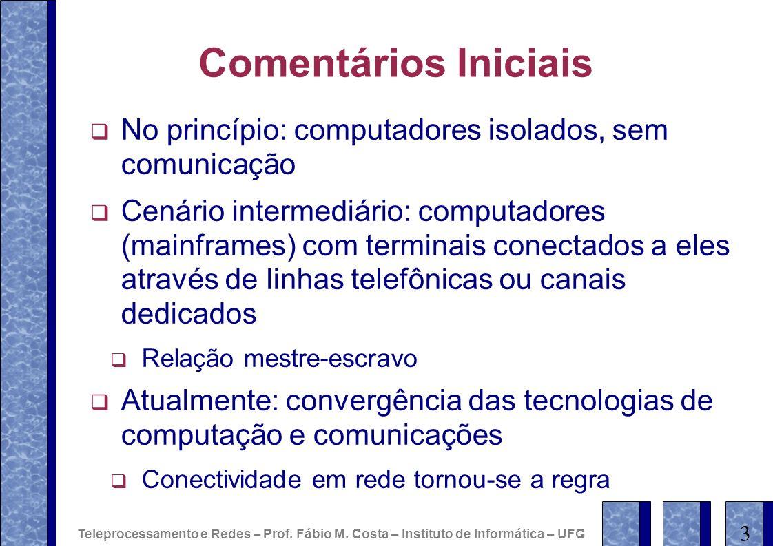 OSI: Princípios para definição das camadas Cada camada define um nível de abstração diferente Cada camada realiza uma função bem definida Protocolos padronizados internacionalmente em cada camada Minimizar o fluxo de informações entre camadas Número de camadas Grande o suficiente para não misturar funções diferentes Pequeno o suficiente para não dificultar o projeto e implementação de uma arquitetura de redes OSI-RM não define uma arquitetura de redes em si Apenas a funcionalidade associada a cada camada Padrões complementares da ISO: protocolos e serviços para as camadas Teleprocessamento e Redes – Prof.
