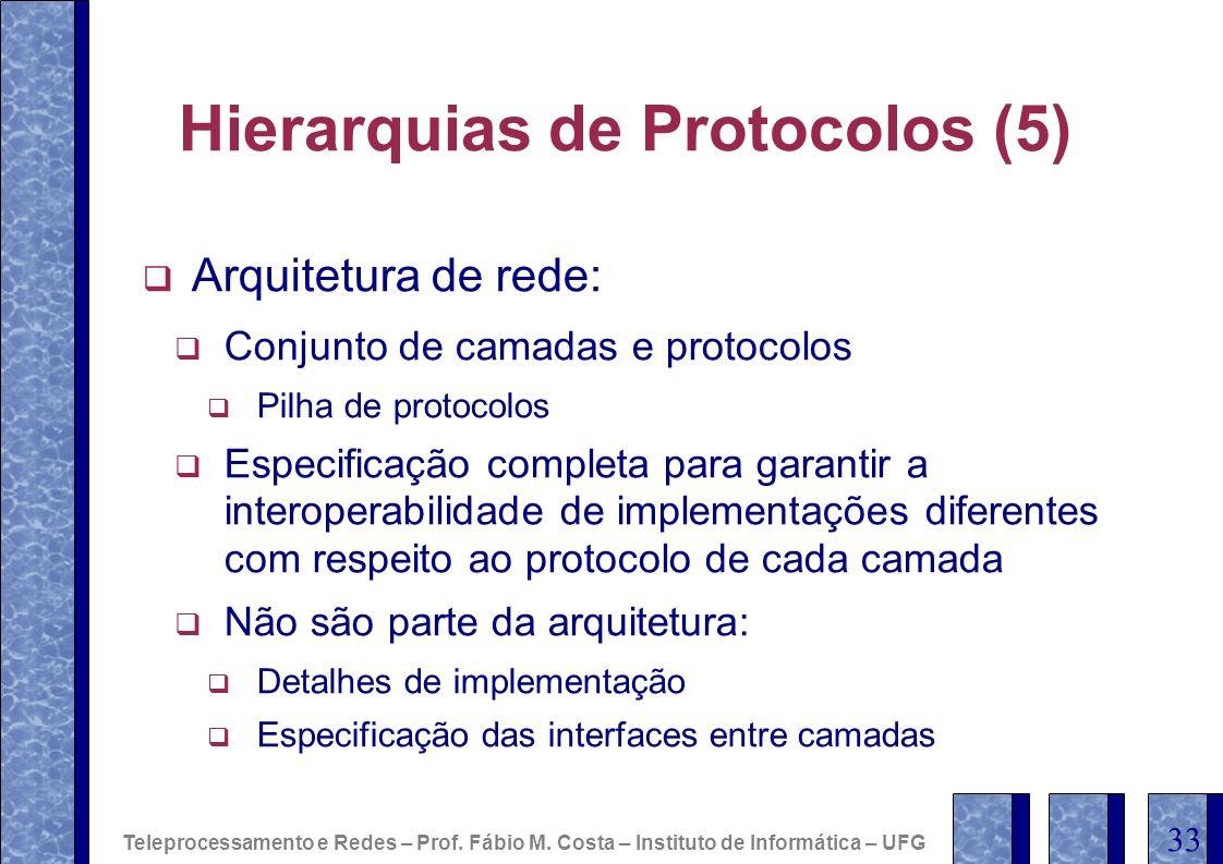 Hierarquias de Protocolos (5) Arquitetura de rede: Conjunto de camadas e protocolos Pilha de protocolos Especificação completa para garantir a interop