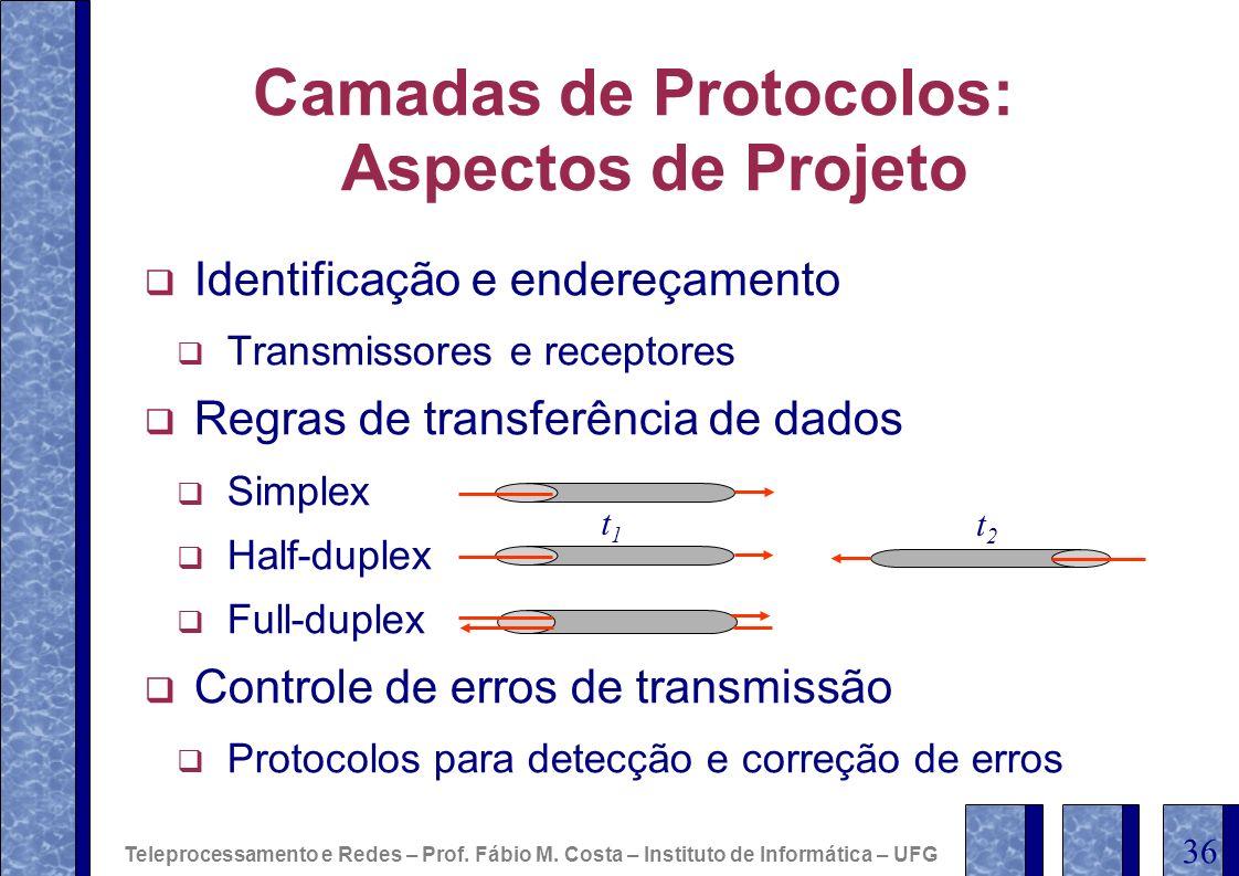Camadas de Protocolos: Aspectos de Projeto Identificação e endereçamento Transmissores e receptores Regras de transferência de dados Simplex Half-dupl