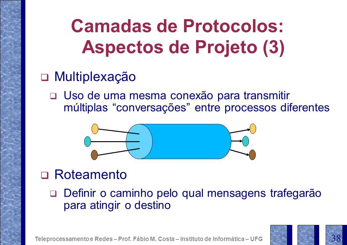 Camadas de Protocolos: Aspectos de Projeto (3) Multiplexação Uso de uma mesma conexão para transmitir múltiplas conversações entre processos diferente