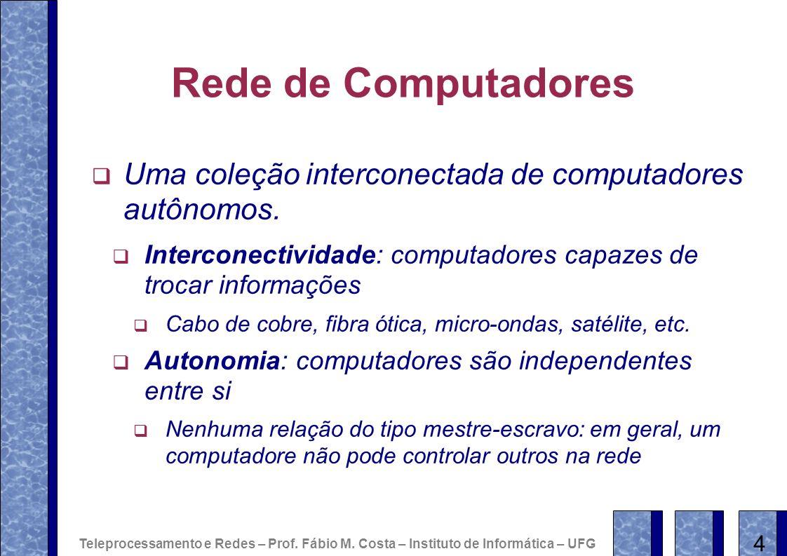 Rede de Computadores Uma coleção interconectada de computadores autônomos. Interconectividade: computadores capazes de trocar informações Cabo de cobr