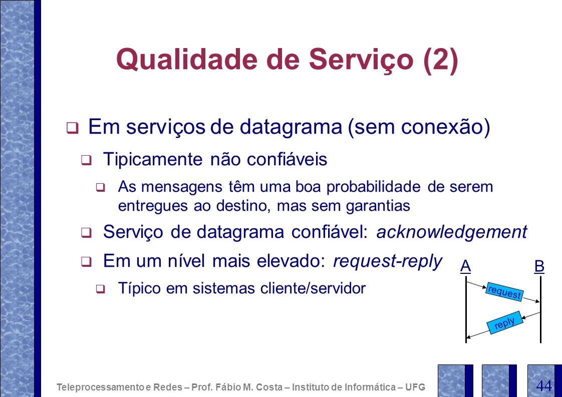 Qualidade de Serviço (2) Em serviços de datagrama (sem conexão) Tipicamente não confiáveis As mensagens têm uma boa probabilidade de serem entregues a