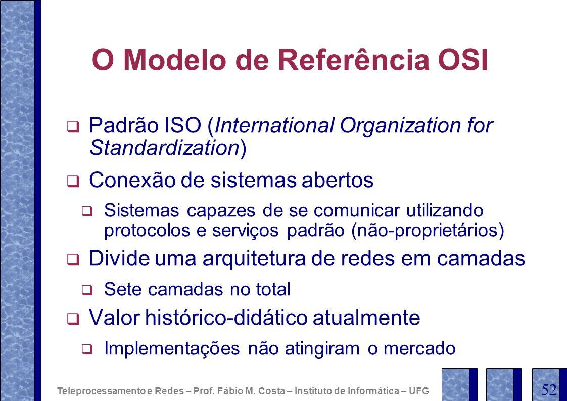 O Modelo de Referência OSI Padrão ISO (International Organization for Standardization) Conexão de sistemas abertos Sistemas capazes de se comunicar ut