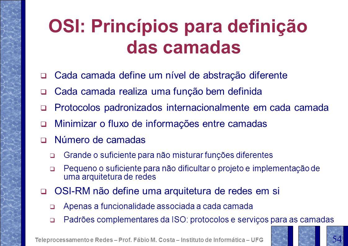OSI: Princípios para definição das camadas Cada camada define um nível de abstração diferente Cada camada realiza uma função bem definida Protocolos p
