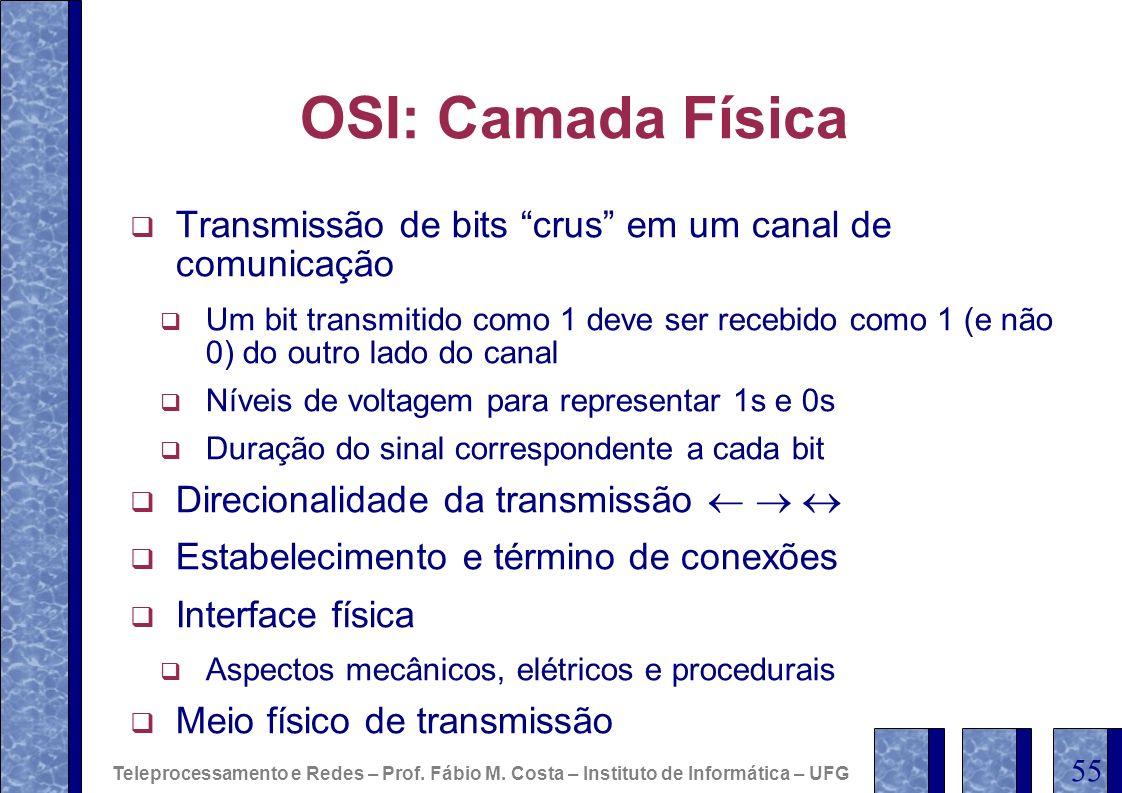 OSI: Camada Física Transmissão de bits crus em um canal de comunicação Um bit transmitido como 1 deve ser recebido como 1 (e não 0) do outro lado do c