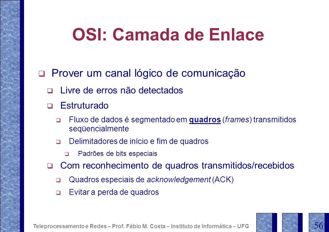 OSI: Camada de Enlace Prover um canal lógico de comunicação Livre de erros não detectados Estruturado Fluxo de dados é segmentado em quadros (frames)