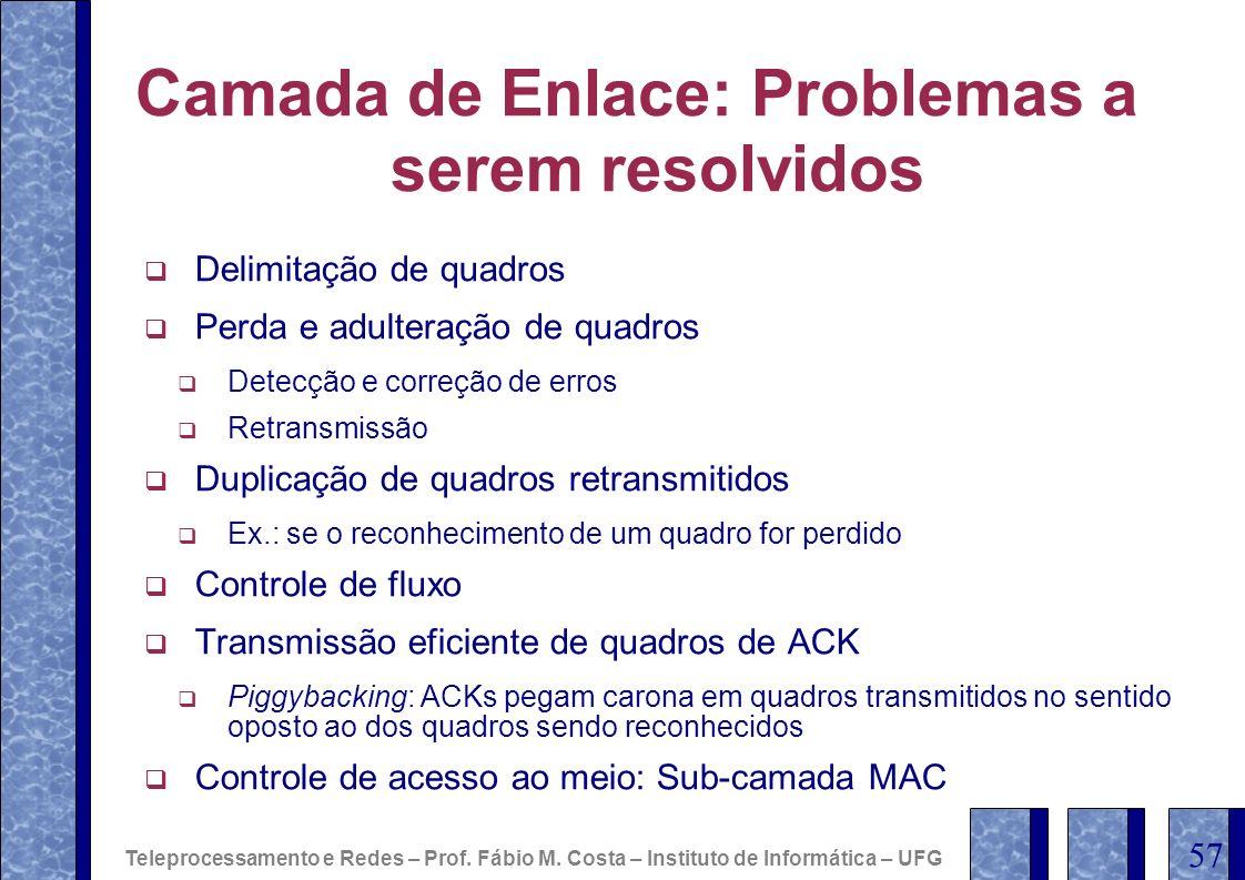 Camada de Enlace: Problemas a serem resolvidos Delimitação de quadros Perda e adulteração de quadros Detecção e correção de erros Retransmissão Duplic