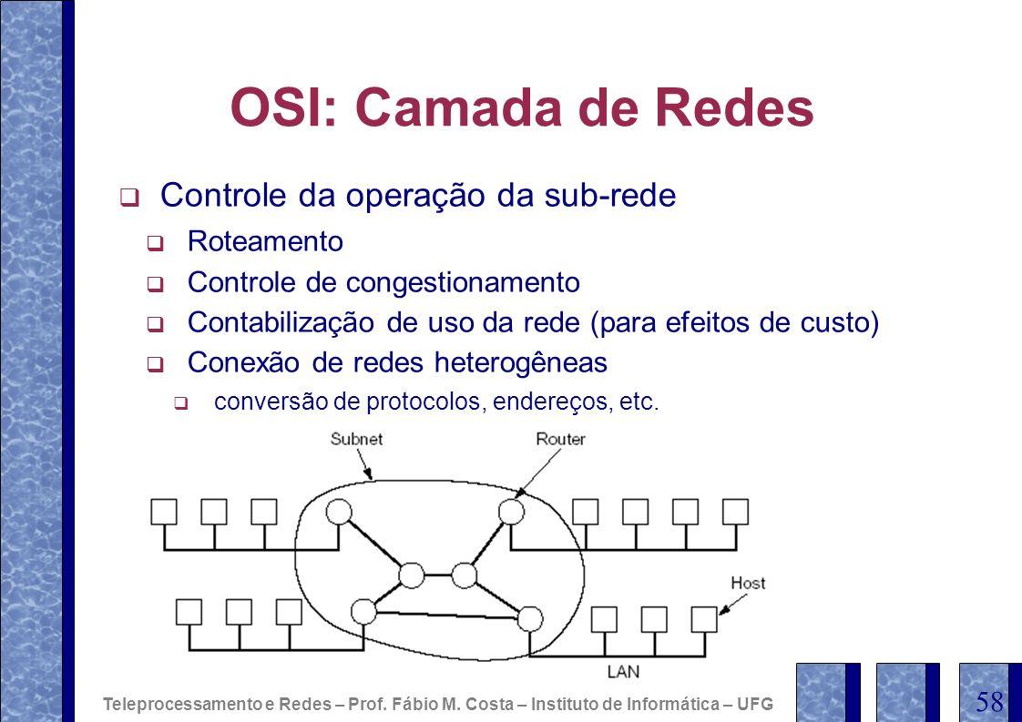 OSI: Camada de Redes Controle da operação da sub-rede Roteamento Controle de congestionamento Contabilização de uso da rede (para efeitos de custo) Co