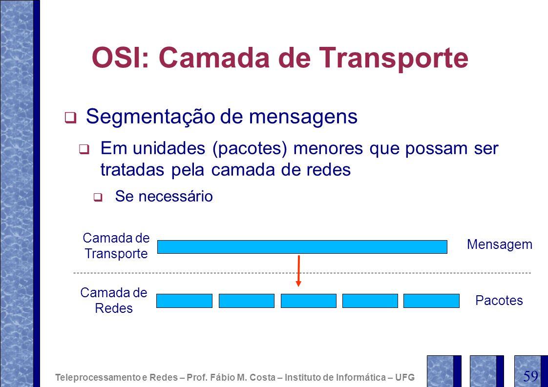 OSI: Camada de Transporte Segmentação de mensagens Em unidades (pacotes) menores que possam ser tratadas pela camada de redes Se necessário Teleproces