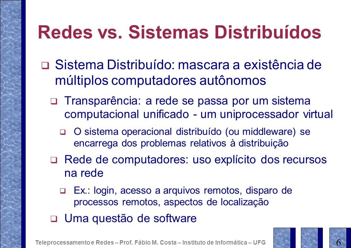 Redes vs. Sistemas Distribuídos Sistema Distribuído: mascara a existência de múltiplos computadores autônomos Transparência: a rede se passa por um si