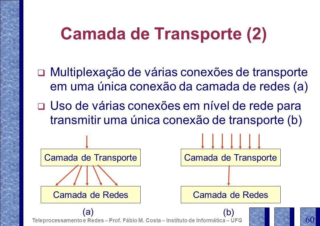 Camada de Transporte (2) Multiplexação de várias conexões de transporte em uma única conexão da camada de redes (a) Uso de várias conexões em nível de