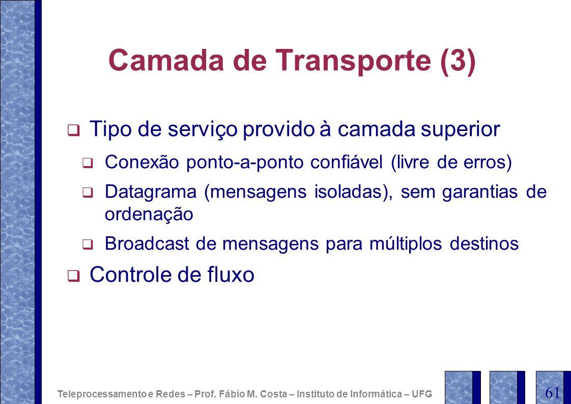 Camada de Transporte (3) Tipo de serviço provido à camada superior Conexão ponto-a-ponto confiável (livre de erros) Datagrama (mensagens isoladas), se