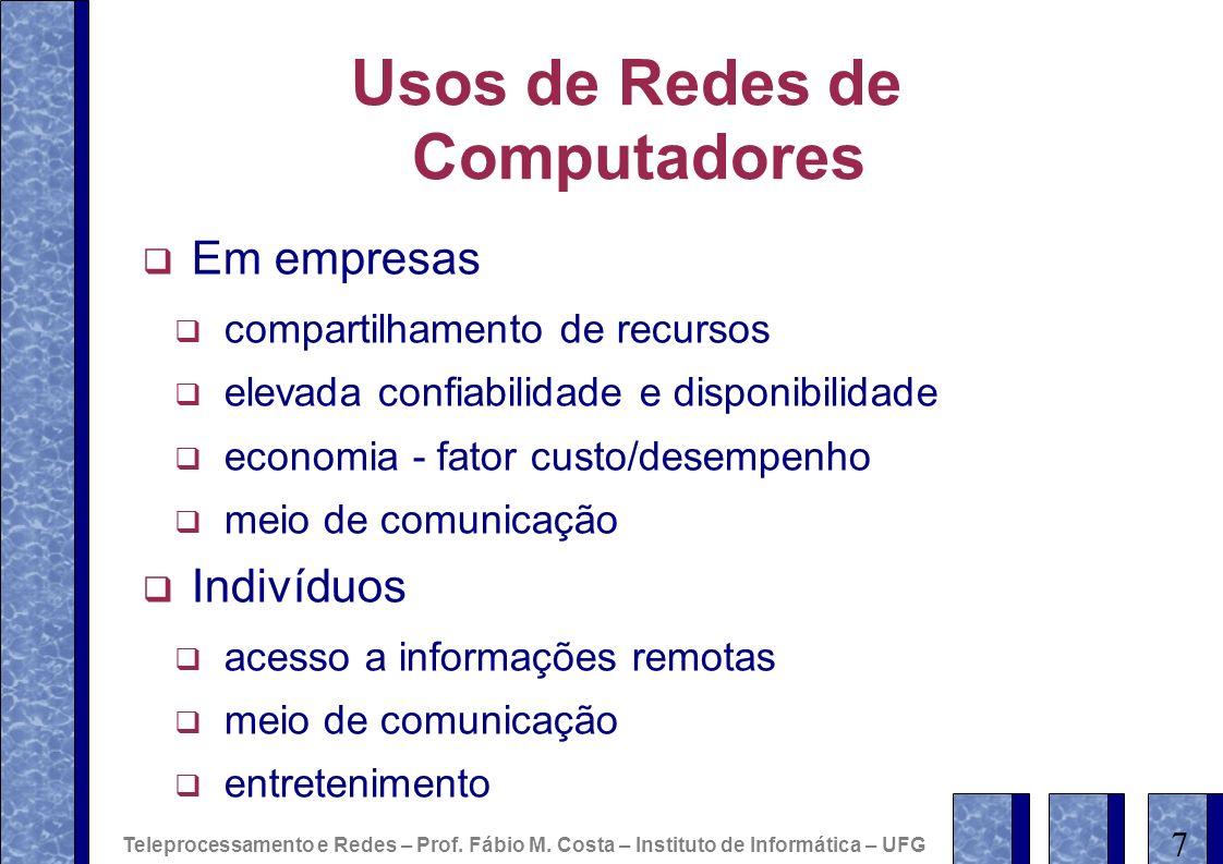 Usos de Redes de Computadores Em empresas compartilhamento de recursos elevada confiabilidade e disponibilidade economia - fator custo/desempenho meio