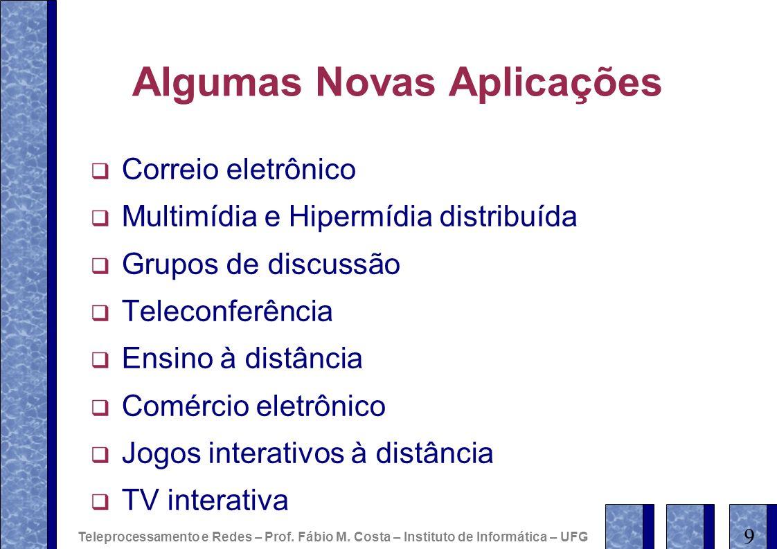 Algumas Novas Aplicações Correio eletrônico Multimídia e Hipermídia distribuída Grupos de discussão Teleconferência Ensino à distância Comércio eletrô