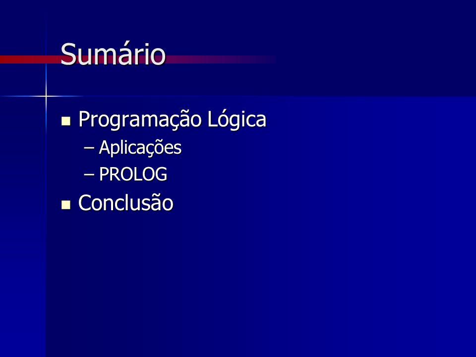 Sumário Programação Lógica Programação Lógica –Aplicações –PROLOG Conclusão Conclusão