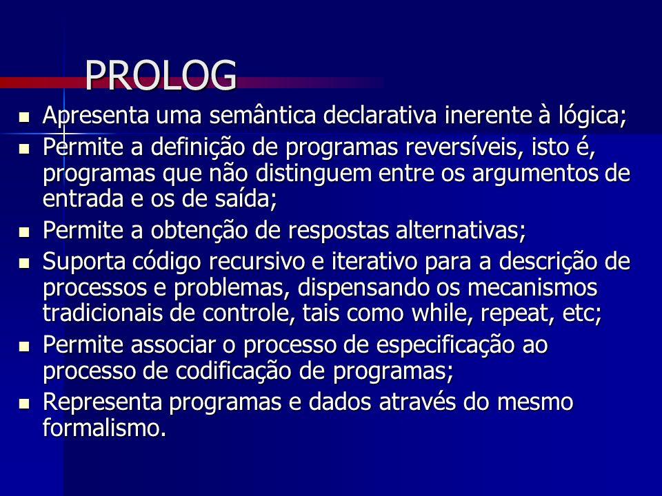 PROLOG Apresenta uma semântica declarativa inerente à lógica; Apresenta uma semântica declarativa inerente à lógica; Permite a definição de programas