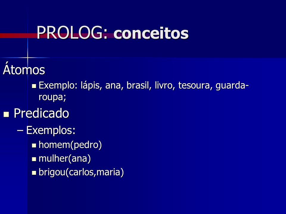 PROLOG: conceitos Frases Frases casado(pedro,maria).