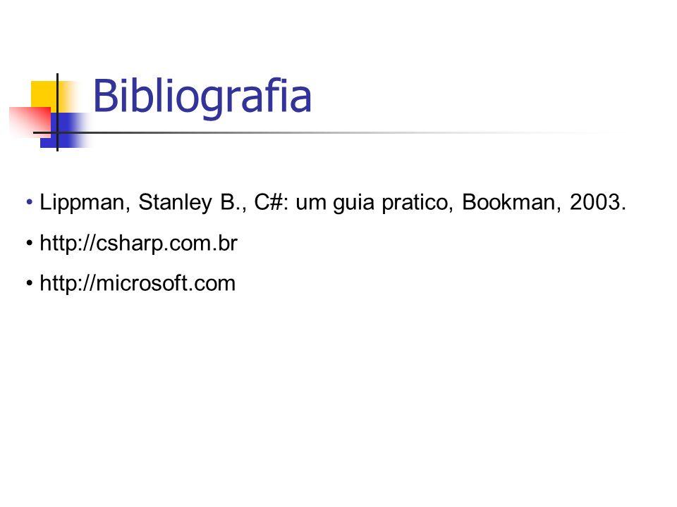 Bibliografia Lippman, Stanley B., C#: um guia pratico, Bookman, 2003. http://csharp.com.br http://microsoft.com