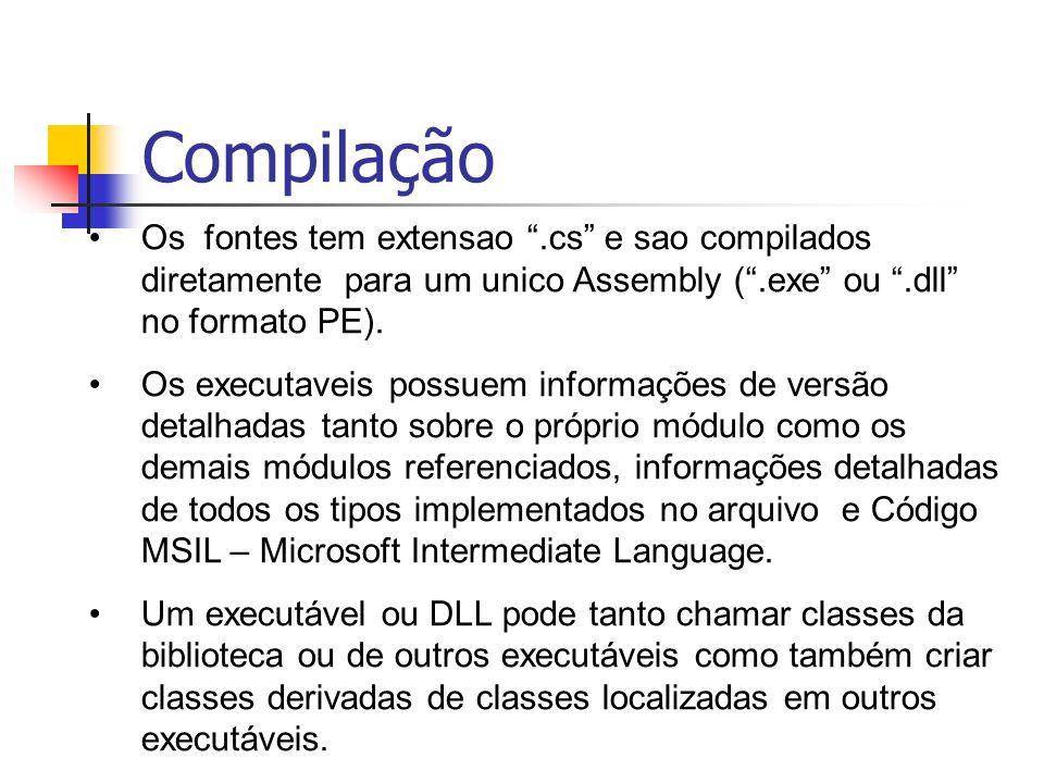 Os fontes tem extensao.cs e sao compilados diretamente para um unico Assembly (.exe ou.dll no formato PE). Os executaveis possuem informações de versã