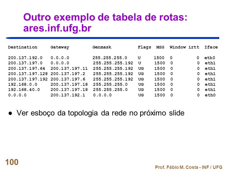 Prof. Fábio M. Costa - INF / UFG 100 Outro exemplo de tabela de rotas: ares.inf.ufg.br Destination Gateway Genmask Flags MSS Window irtt Iface 200.137