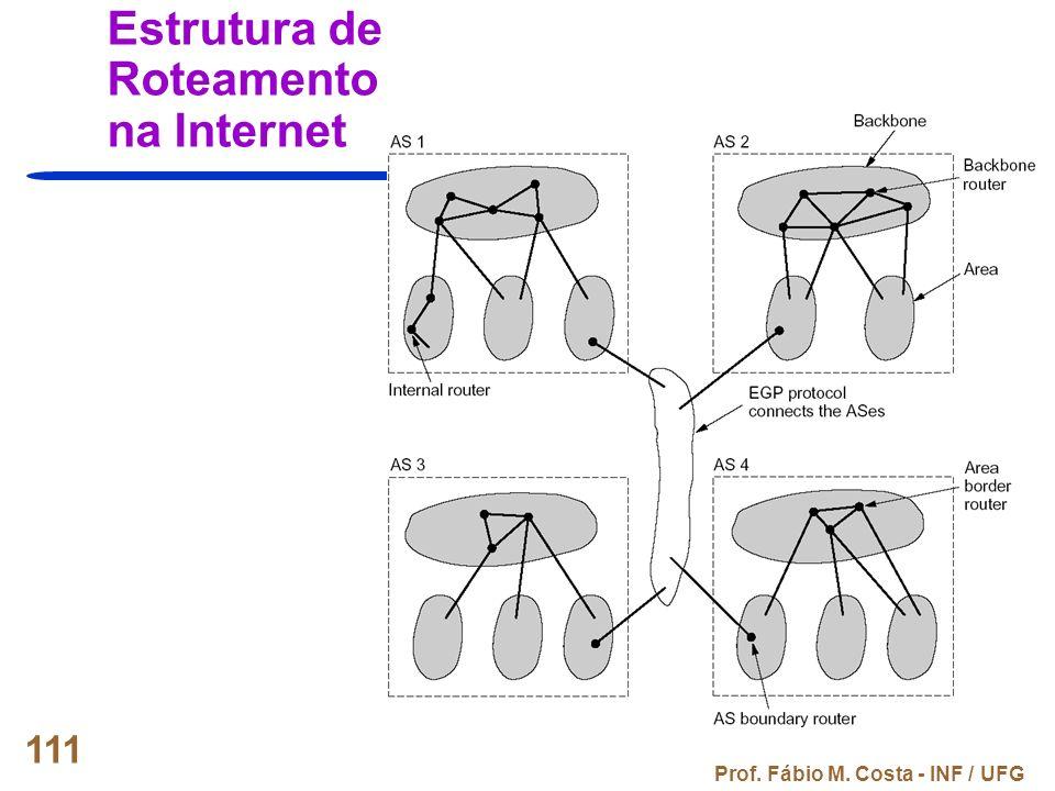 Prof. Fábio M. Costa - INF / UFG 111 Estrutura de Roteamento na Internet