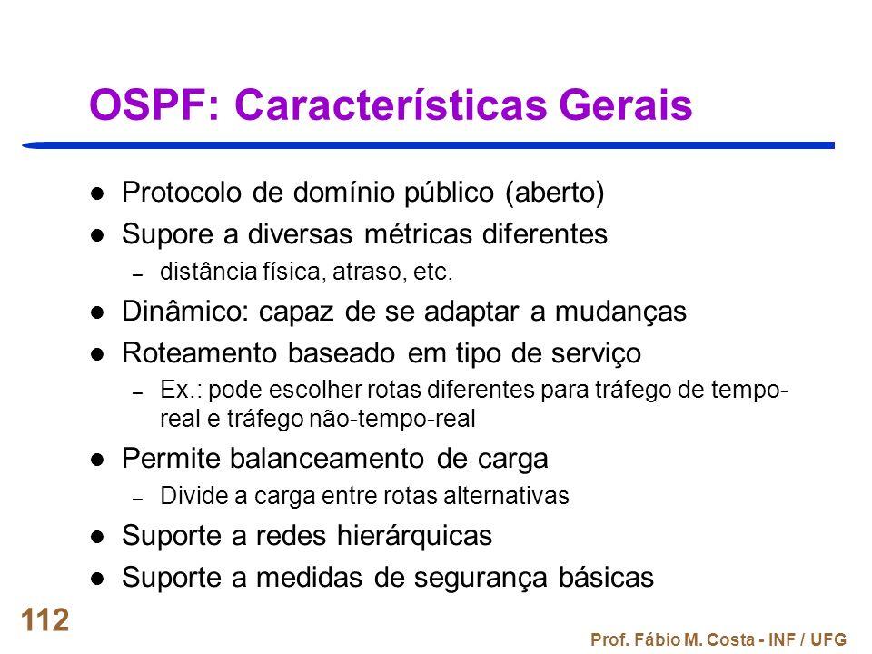 Prof. Fábio M. Costa - INF / UFG 112 OSPF: Características Gerais Protocolo de domínio público (aberto) Supore a diversas métricas diferentes – distân