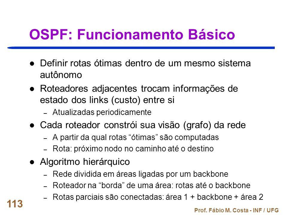 Prof. Fábio M. Costa - INF / UFG 113 OSPF: Funcionamento Básico Definir rotas ótimas dentro de um mesmo sistema autônomo Roteadores adjacentes trocam
