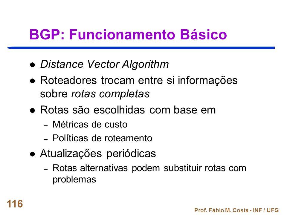 Prof. Fábio M. Costa - INF / UFG 116 BGP: Funcionamento Básico Distance Vector Algorithm Roteadores trocam entre si informações sobre rotas completas