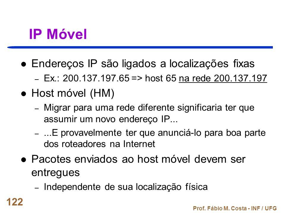 Prof. Fábio M. Costa - INF / UFG 122 IP Móvel Endereços IP são ligados a localizações fixas – Ex.: 200.137.197.65 => host 65 na rede 200.137.197 Host