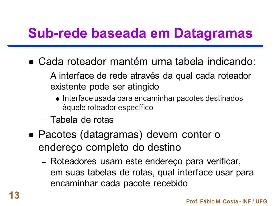 Prof. Fábio M. Costa - INF / UFG 13 Sub-rede baseada em Datagramas Cada roteador mantém uma tabela indicando: – A interface de rede através da qual ca