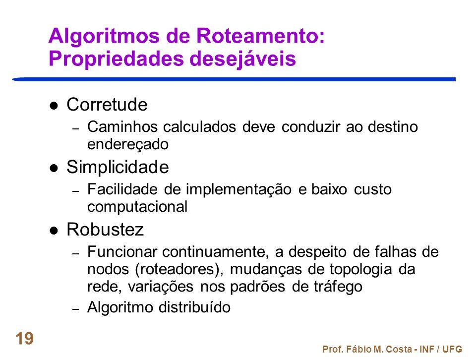 Prof. Fábio M. Costa - INF / UFG 19 Algoritmos de Roteamento: Propriedades desejáveis Corretude – Caminhos calculados deve conduzir ao destino endereç