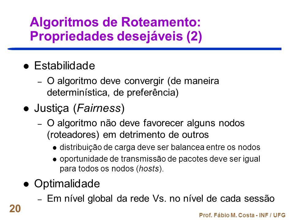 Prof. Fábio M. Costa - INF / UFG 20 Algoritmos de Roteamento: Propriedades desejáveis (2) Estabilidade – O algoritmo deve convergir (de maneira determ
