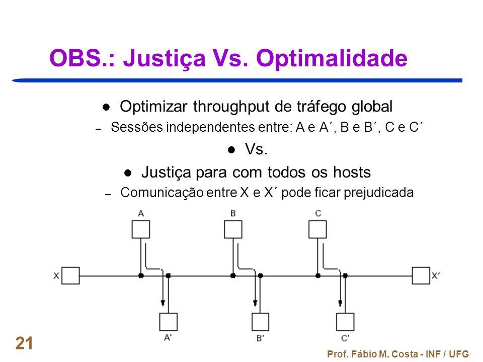 Prof. Fábio M. Costa - INF / UFG 21 OBS.: Justiça Vs. Optimalidade Optimizar throughput de tráfego global – Sessões independentes entre: A e A´, B e B